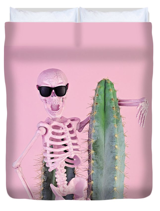 Cool Attitude Duvet Cover featuring the photograph Pink Skeleton With Cactus by Juj Winn