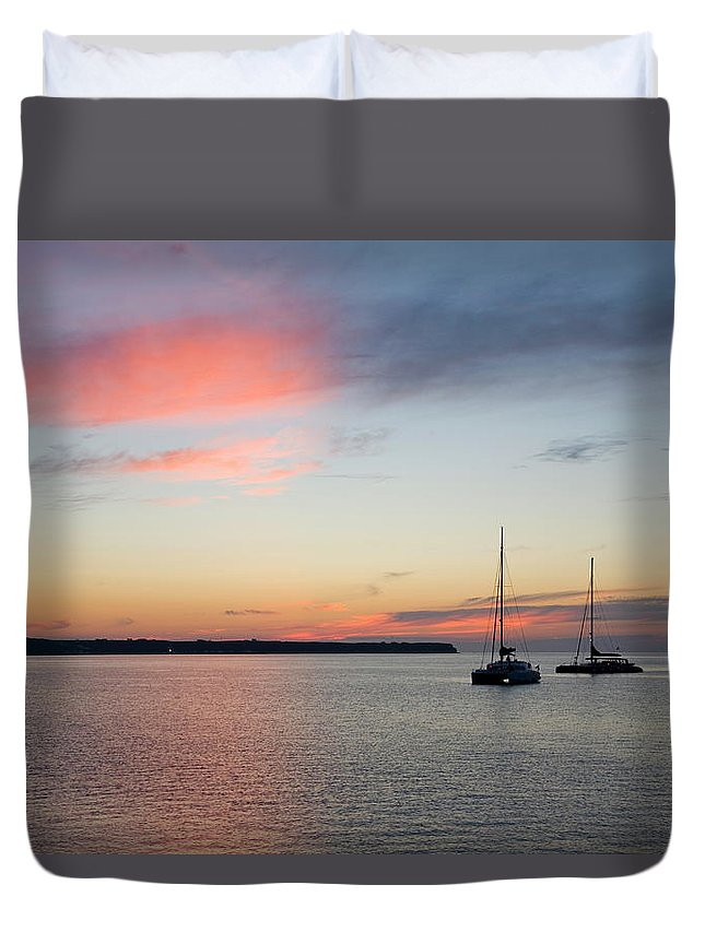 Scenics Duvet Cover featuring the photograph Pink Sky After Sunset, Oia, Santorini by David C Tomlinson