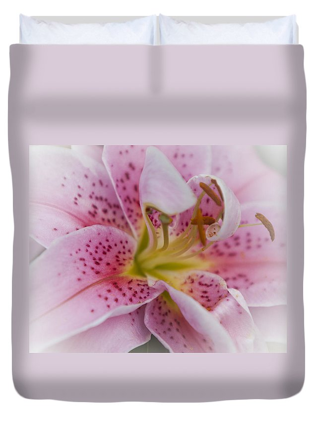 Plant Duvet Cover featuring the photograph Pink Spotted Lily by Maj Seda