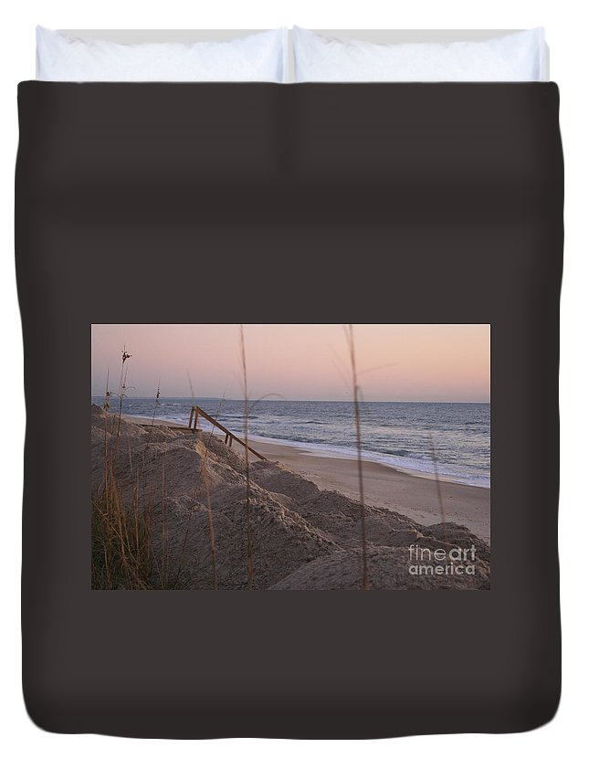Pink Duvet Cover featuring the photograph Pink Sunrise On The Beach by Nadine Rippelmeyer