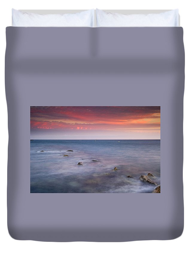 Pink Duvet Cover featuring the photograph Pink Sunset At The Mediterraneas Sea by Guido Montanes Castillo