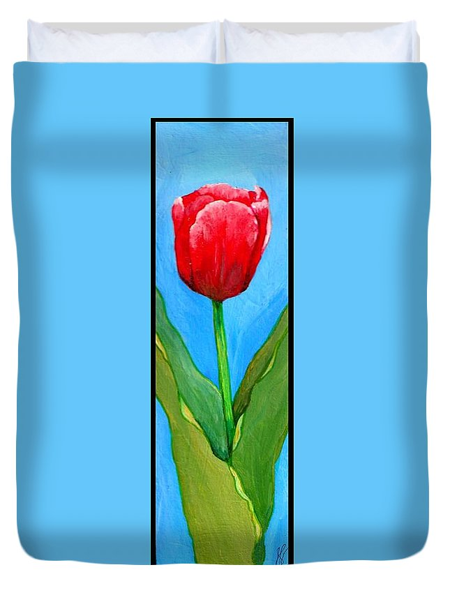 Tulip Duvet Cover featuring the painting Pink Tulip by Jim Harris