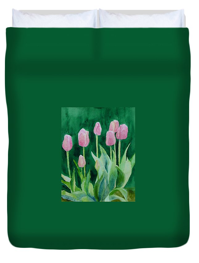 Beautiful Flowers Duvet Cover featuring the painting Pink Tulips Colorful Flowers Garden Art Original Watercolor Painting Artist K. Joann Russell by K Joann Russell