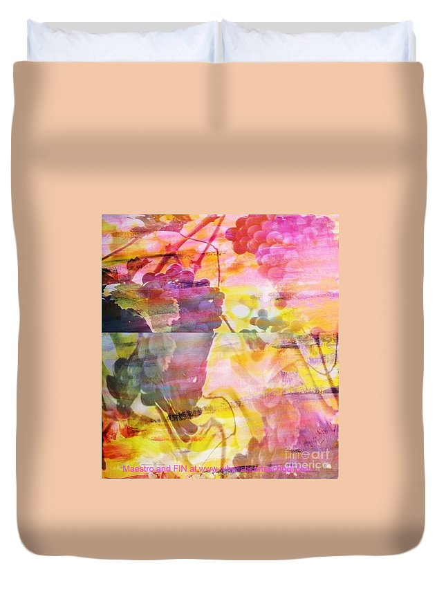 Wine Duvet Cover featuring the painting Pink Vineyard Plumps by PainterArtist FIN