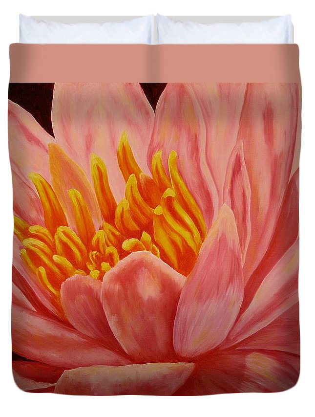 Oil Duvet Cover featuring the painting Pink Waterlily by Darla Brock