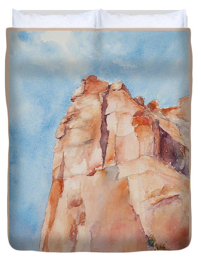 Utah Duvet Cover featuring the painting Pinnacle by Mary Benke