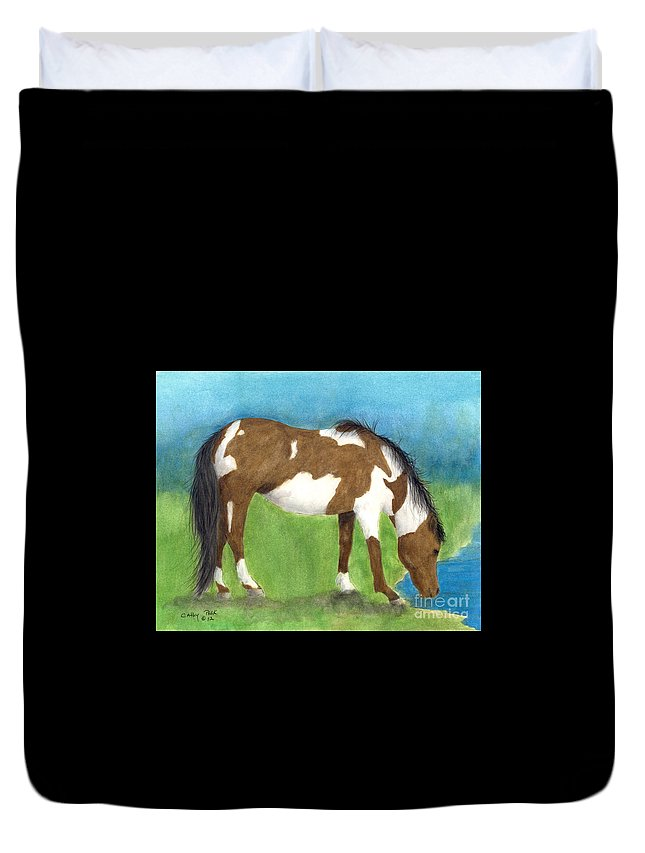 Pinto Duvet Cover featuring the painting Pinto Mustang Horse Mare Farm Ranch Animal Art by Cathy Peek