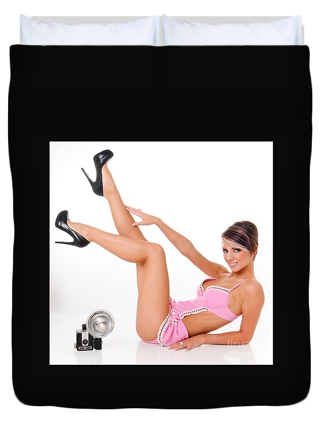 50s Duvet Cover featuring the photograph Pinup Girl In Pink by Jt PhotoDesign