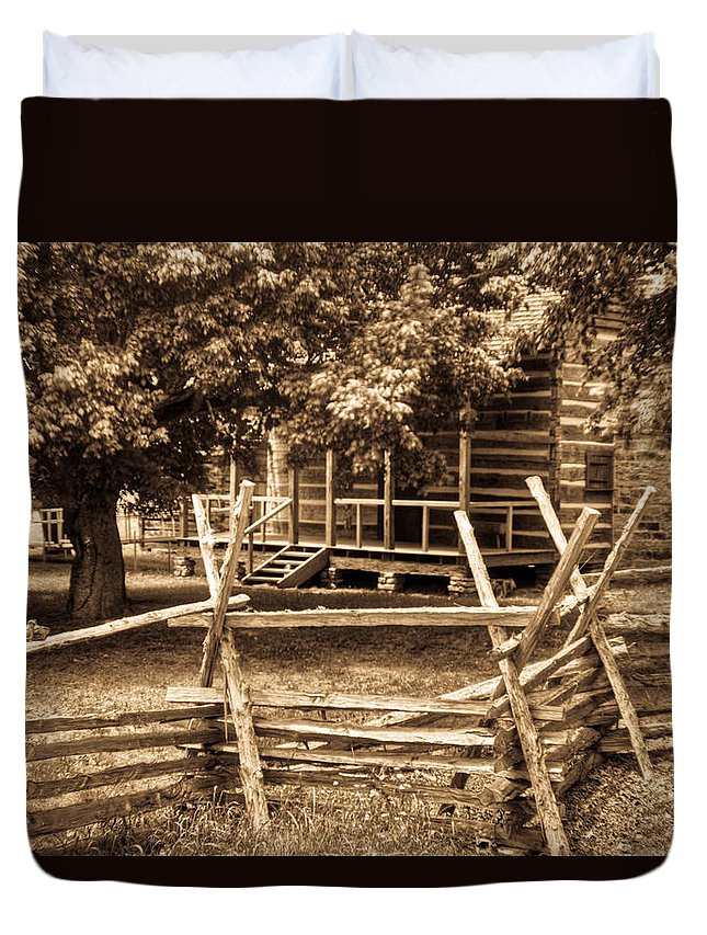 Pioneer Duvet Cover featuring the photograph Pioneer Cabin In Sepia 1 by Douglas Barnett