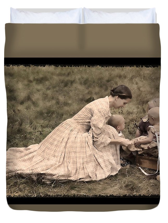 Pioneer Mother And Children Duvet Cover featuring the photograph Pioneer Mother And Children by Wes and Dotty Weber