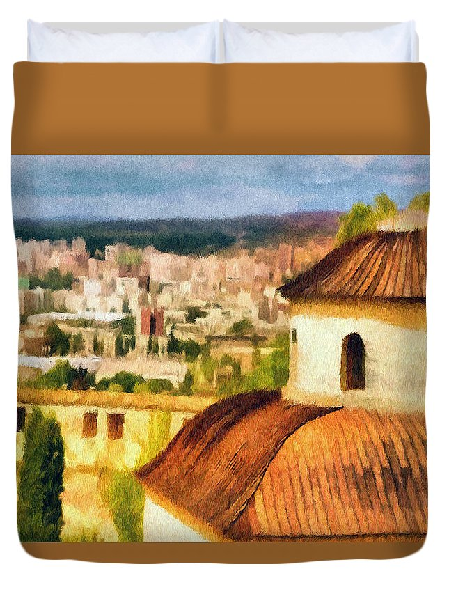 Chapel Duvet Cover featuring the painting Pious Witness To The Passage Of Time by Jeffrey Kolker