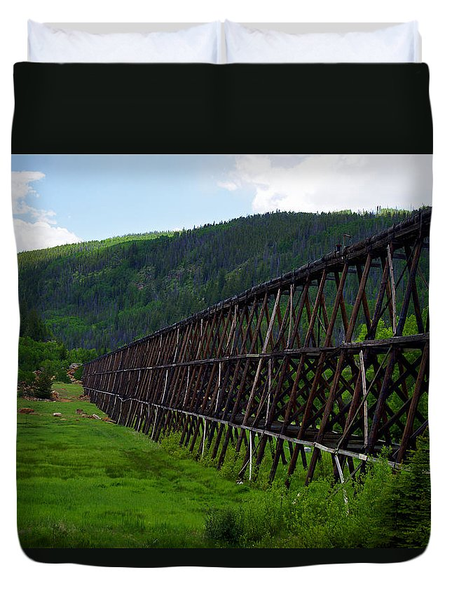 Altitude10k Photography Duvet Cover featuring the photograph Pipeline Trestle by Jeremy Rhoades