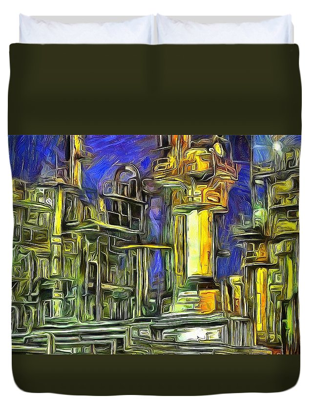 Pipes Duvet Cover featuring the digital art Pipes by Catherine Lott