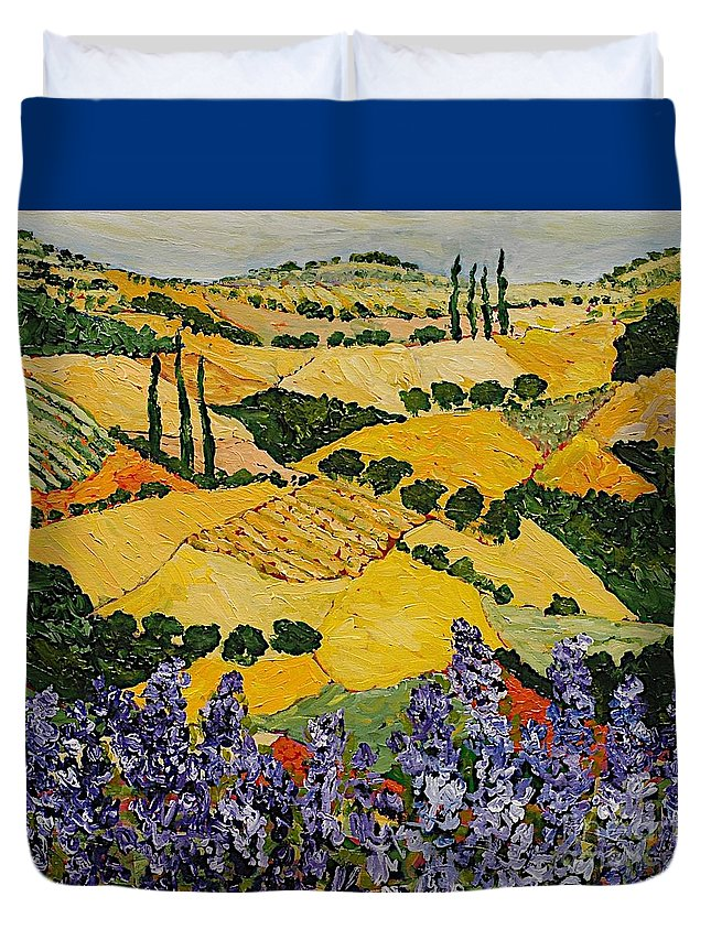 Landscape Duvet Cover featuring the painting Piping Hot by Allan P Friedlander