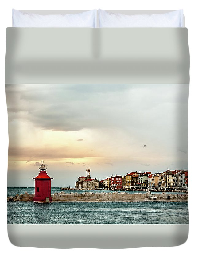 Tranquility Duvet Cover featuring the photograph Piran Slovenia by Digital Image