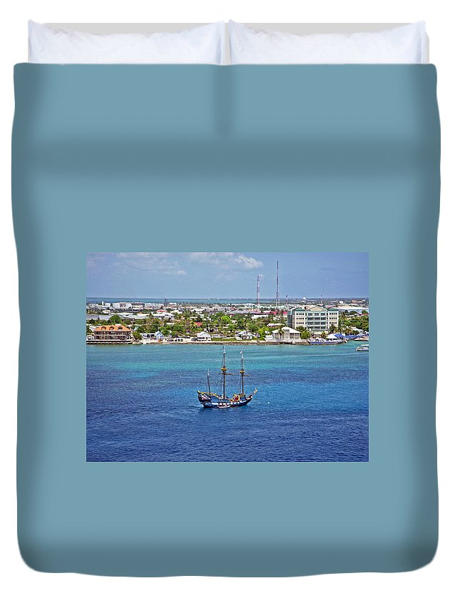 Pirate Ship Duvet Cover featuring the photograph Pirate Ship In Cozumel by Aimee L Maher ALM GALLERY