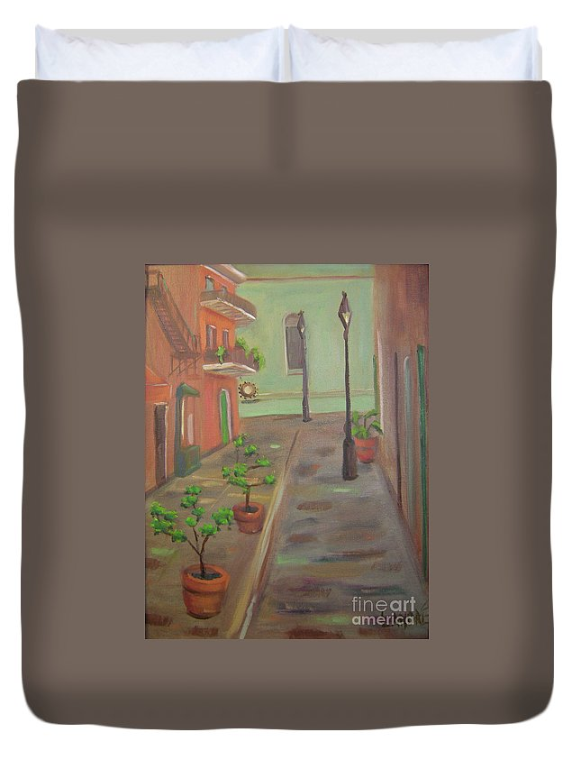 New Orleans Duvet Cover featuring the painting Pirates Alley by Lilibeth Andre