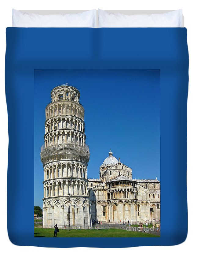 Towers Duvet Cover featuring the photograph Pisa Italy by John Malone
