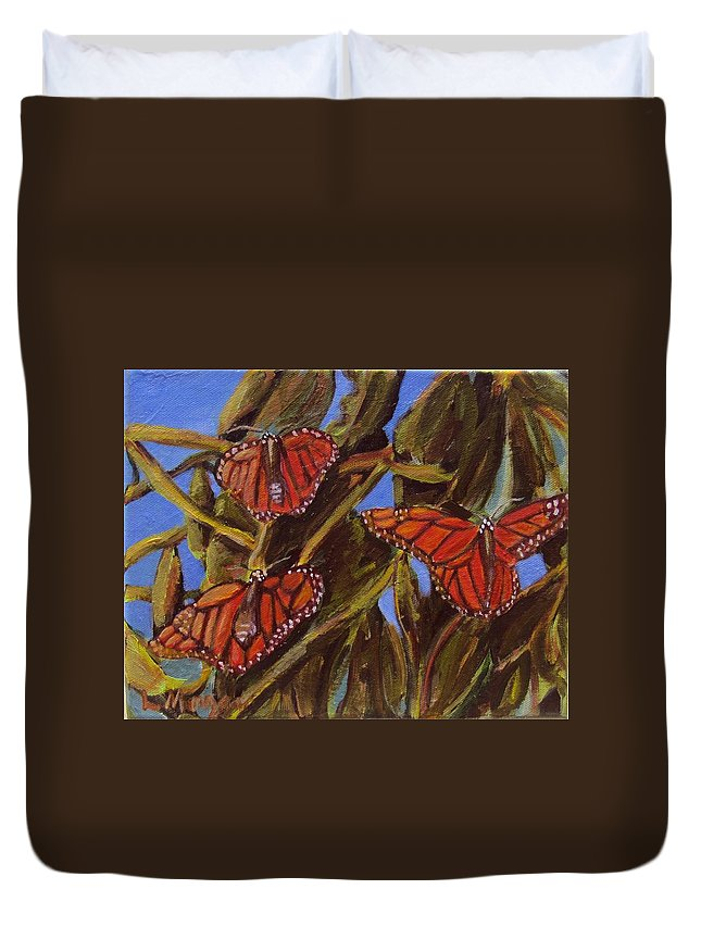 Butterflies Duvet Cover featuring the painting Pismo Monarchs by Laurie Morgan