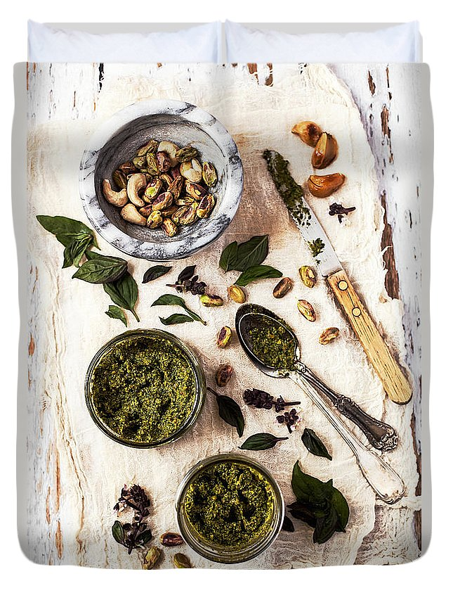 San Francisco Duvet Cover featuring the photograph Pistachio Pesto With Mortar, Jars And by One Girl In The Kitchen