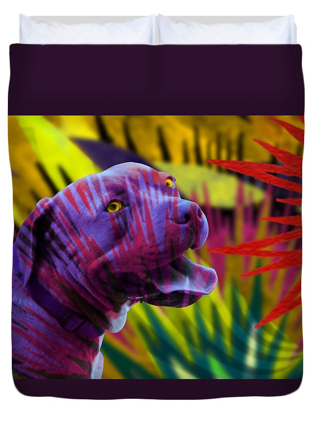 Pit Bull Terrier Dog Puppy Purple Gold Green Red Stars Fireworks Abstract Seacorc Duvet Cover featuring the painting Pit Bull by Sean Corcoran