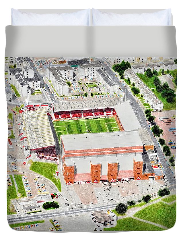 Art Duvet Cover featuring the painting Pittodrie Stadia Art by Brian Casey