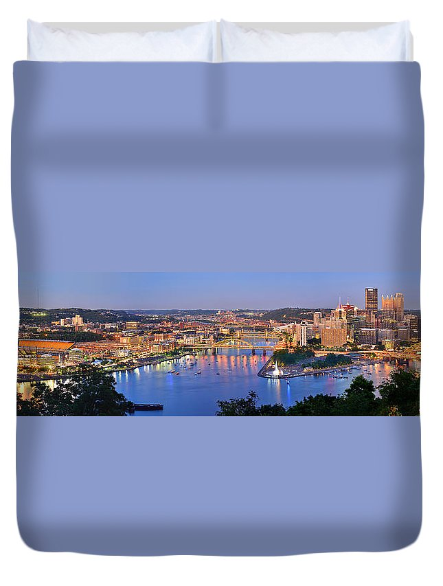 Pittsburgh Skyline Duvet Cover featuring the photograph Pittsburgh Pennsylvania Skyline At Dusk Sunset Extra Wide Panorama by Jon Holiday
