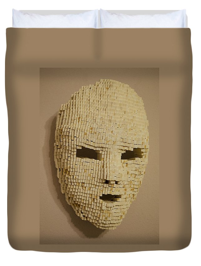 Wood Duvet Cover featuring the sculpture Pixelated Face by Daniel P Cronin