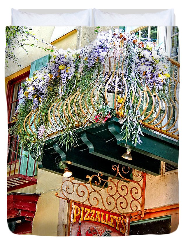 Flowers Duvet Cover featuring the photograph Pizzalleys St Augustine Fl by Marilyn Holkham