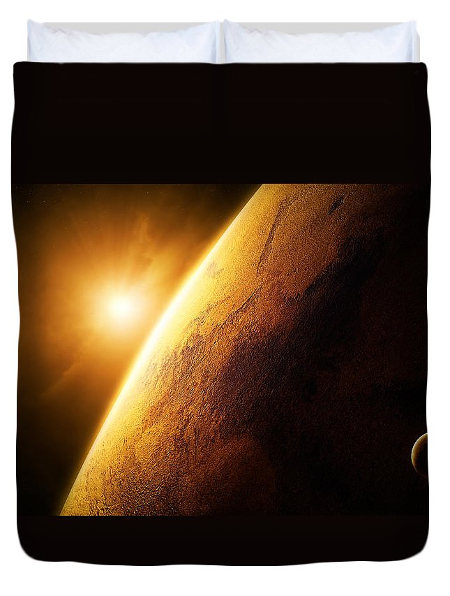 Mars Duvet Cover featuring the photograph Planet Mars Close-up With Sunrise by Johan Swanepoel