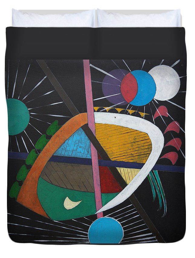 Acrylic Duvet Cover featuring the painting Planets by Sergey Bezhinets