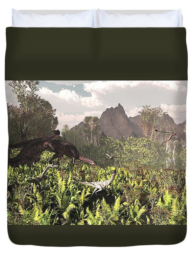 Triassic Duvet Cover featuring the digital art Plateosaurus And Ceolophysis Dinosaurs by Arthur Dorety