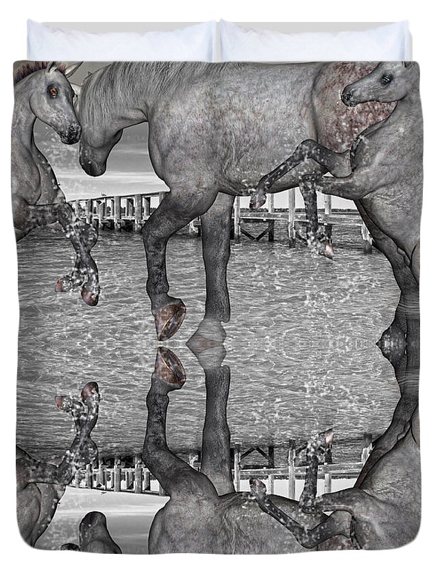 Horse Duvet Cover featuring the mixed media Playful Blessings by Betsy Knapp