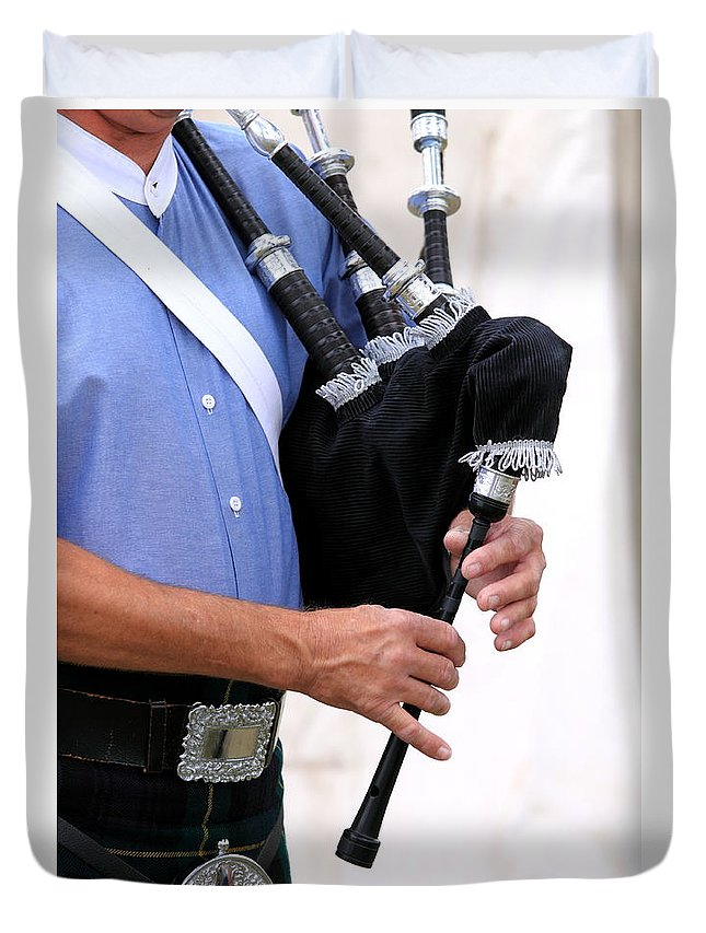Music Duvet Cover featuring the photograph Playing Bagpipe by Henrik Lehnerer