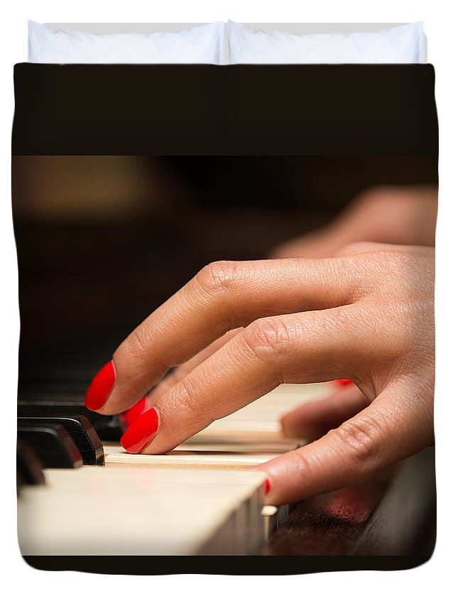 Music Duvet Cover featuring the photograph Playing The Piano by Dutourdumonde Photography