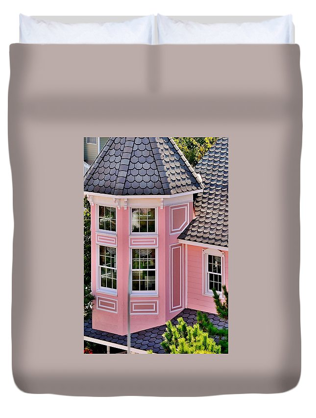 Hotel Duvet Cover featuring the photograph Beautiful Pink Turret - Boardwalk Plaza Hotel Annex - Rehoboth Beach Delaware by Kim Bemis