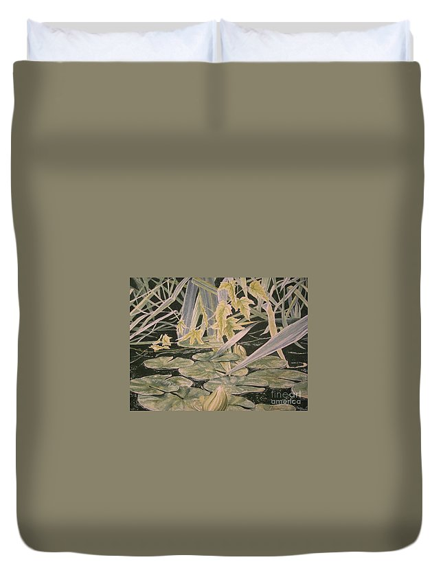 Lilly Bud Duvet Cover featuring the painting Pleasant Arrangement by John Wilson