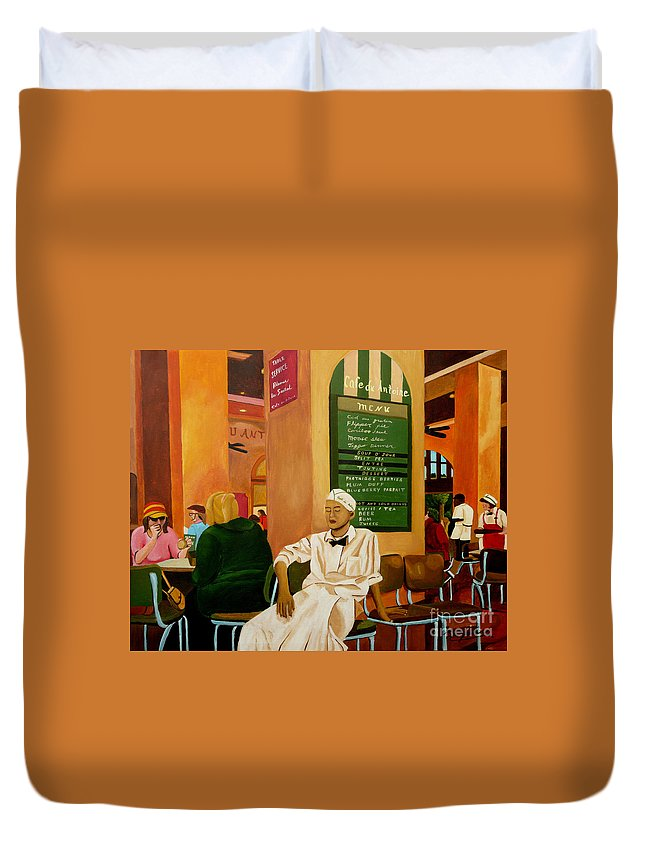 Cafe Duvet Cover featuring the painting Please Be Seated by Anthony Dunphy