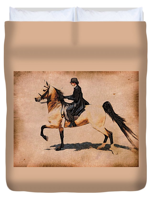 Horse Duvet Cover featuring the photograph Pleasure Buckskin by Alice Gipson