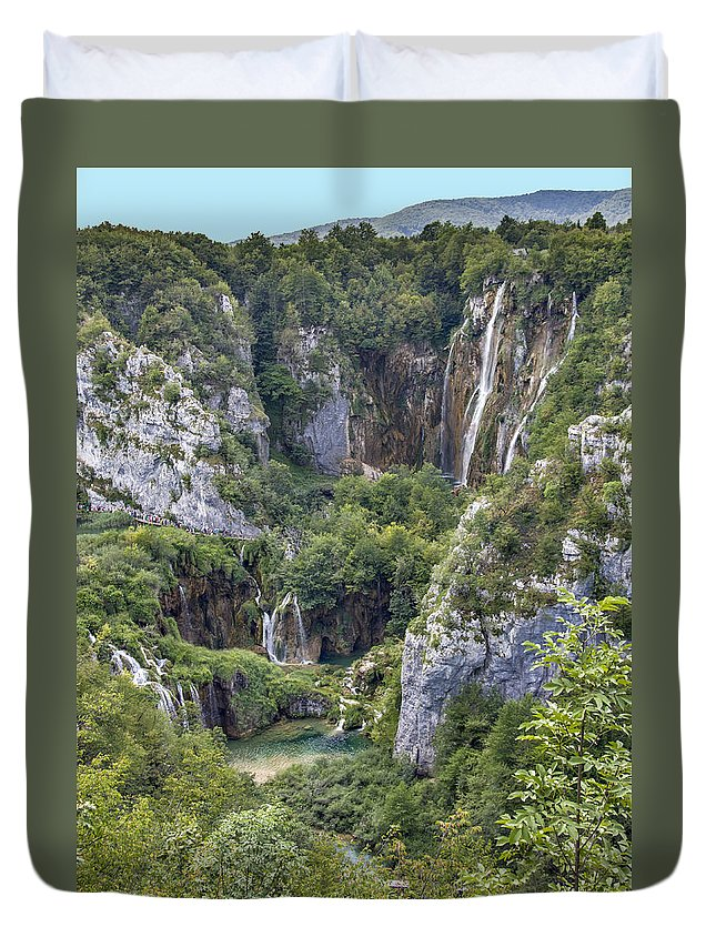 Croatia Duvet Cover featuring the photograph Plitvice Lakes - Croatia by Alan Toepfer