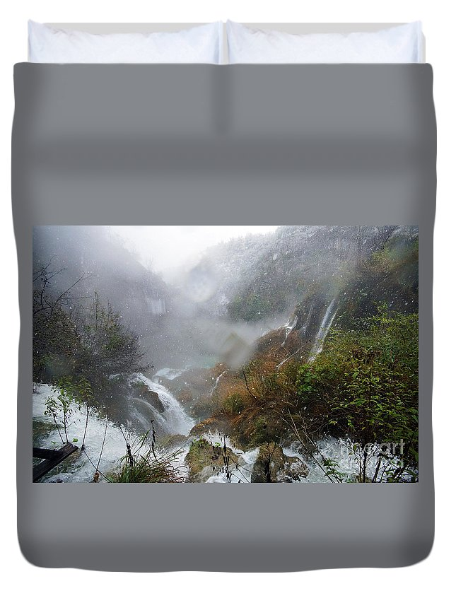 Europe Duvet Cover featuring the photograph Plitvice Lakes In Winter 4 by Rudi Prott