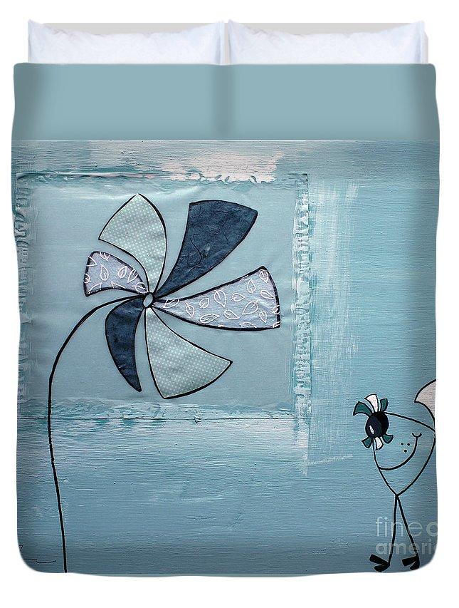 Bird Duvet Cover featuring the painting Plouk by Aimelle