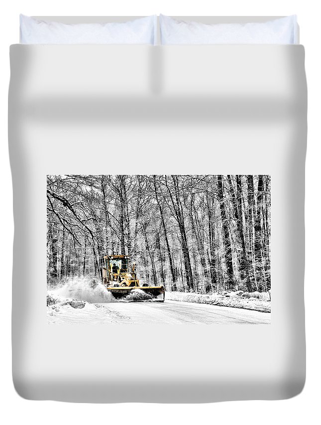Black And White Duvet Cover featuring the photograph Plowin Snow by Paul Freidlund