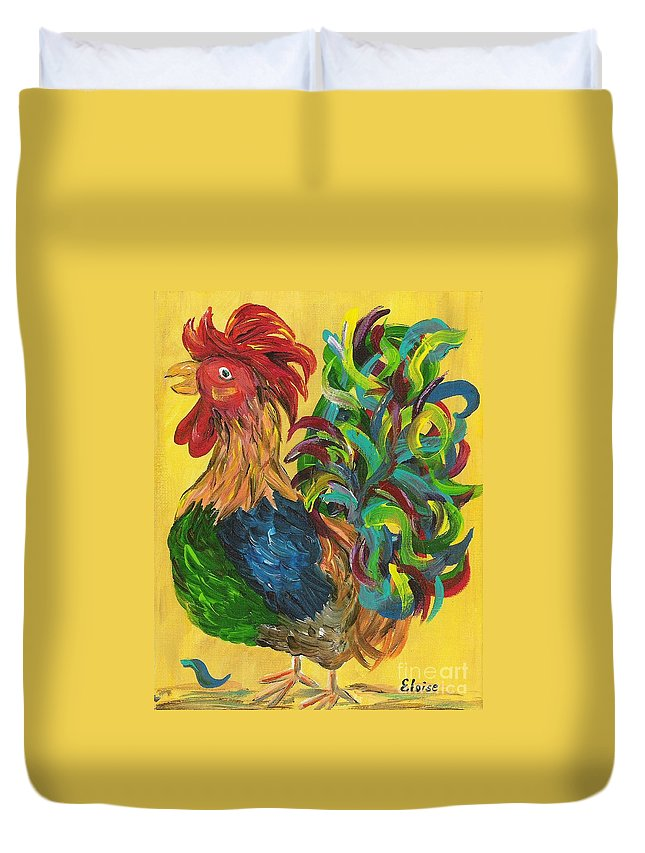 Rooster Duvet Cover featuring the painting Plucky Rooster by Eloise Schneider Mote