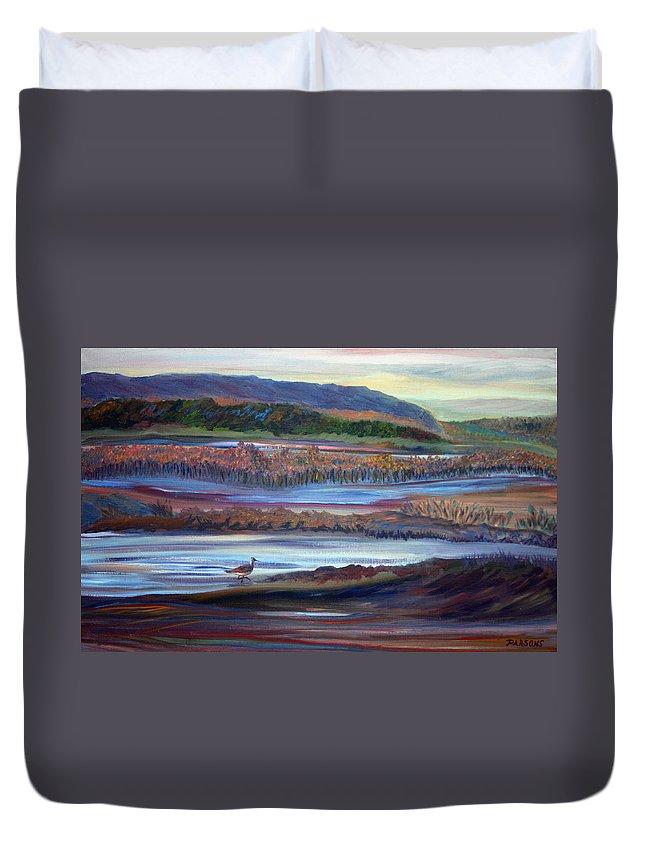 Plum Island Duvet Cover featuring the painting Plum Island Salt Marsh Sunset by Pamela Parsons
