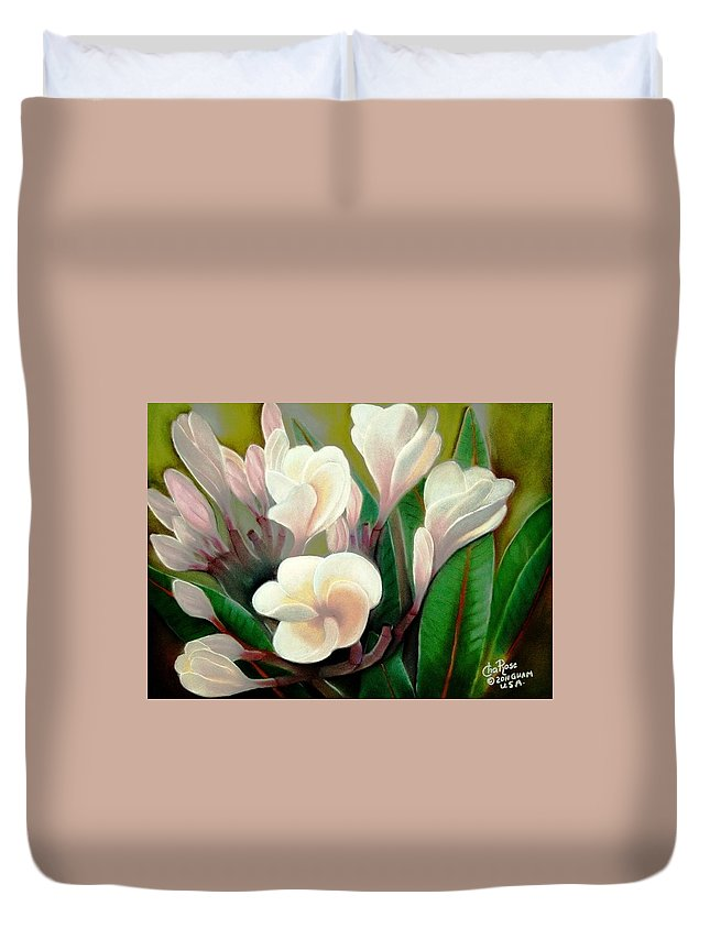 Duvet Cover featuring the pastel Plumeria by Charito ChatRose Mahilum