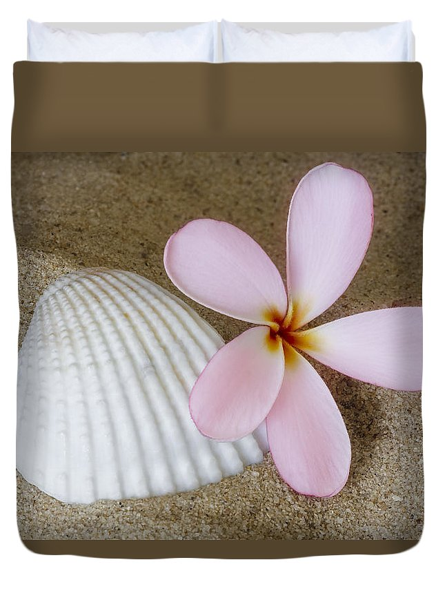 Plumeria Duvet Cover featuring the photograph Plumeria Flower And Sea Shell by Susan Candelario