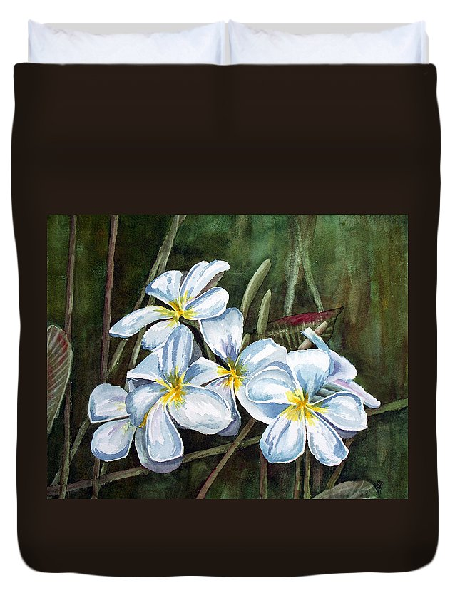 Plumeria Duvet Cover featuring the painting Plumeria by Kathy Przepadlo