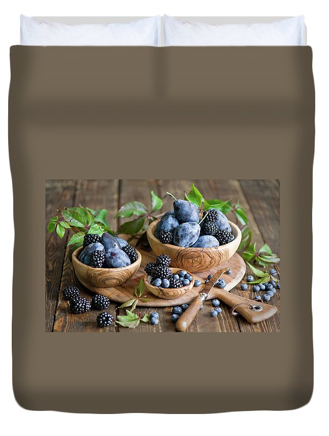 Plum Duvet Cover featuring the photograph Plums And Berries by Verdina Anna