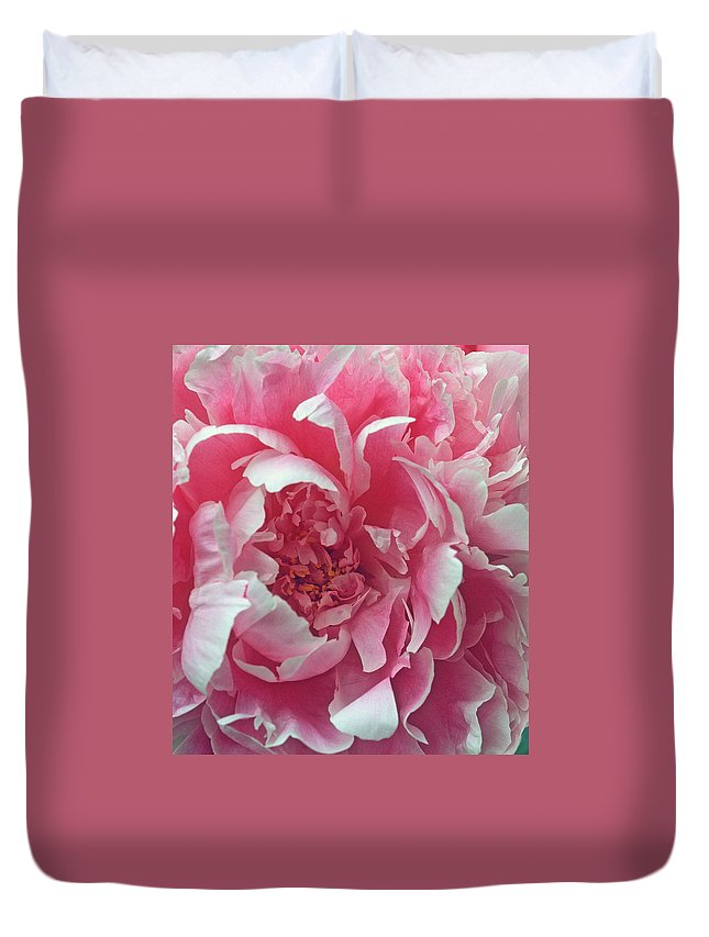 Flowers Duvet Cover featuring the photograph Plush Peony by Kathy Yates